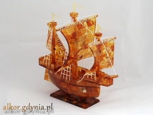 sailing ship - 100% of Baltic Amber - REMARKABLE - Gifts for Companies ! s.3 +Cert.
